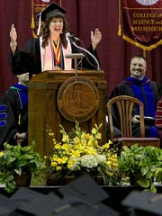 Megan Piehler, commencement speaker and graduating Midwestern State University senior, speaks to her fellow classmates during the Spring 2017 MSU Commencement Saturday morning at Kay Yeager Coliseum.