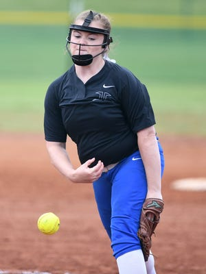 Jackson Christian's Jenna Arnold (19) throws a pitch during game 6 of the TSSAA Class A Softball Tournament, Wednesday, May 24, 2017 against Whitwell. Jackson Christian defeated Whitwell 10-9.