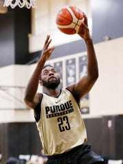 Junior forward Jacquil Taylor with a layup during Purdue