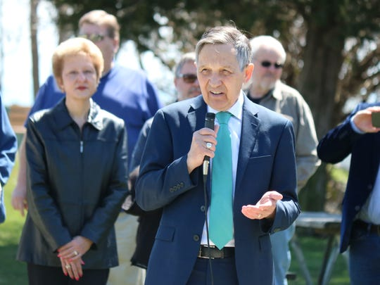 Dennis Kucinich, Democratic candidate for governor, speaks in favor of the decision to declare Lake Erie's western basin impaired, saying it should have been done years ago.