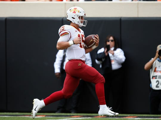Iowa State quarterback Brock Purdy (15) runs into the end zone with a touchdown in the first half of an NCAA college football game in Stillwater, Okla., Saturday, Oct. 6, 2018. (AP Photo/Sue Ogrocki)