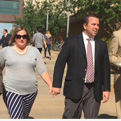 Jesse and Malesia Hughes and their attorneys, Leaving