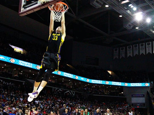 Montverde Academy (Montverde, Fla.) forward Lucas Turnage (33) slams a two-handed dunk during the 2017 Bass Pro Tournament of Champions dunk contest at JQH Arena in Springfield, Mo. on Jan. 14, 2017.
