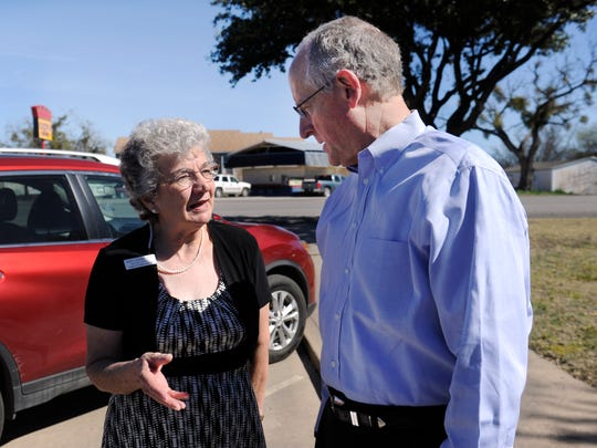 Betty Bradley speaks with U.S. Representative Mike Conaway Wednesday Feb. 22, 2017 in Ballinger. Bradley is the executive director for Meals on Wheels Plus, Inc. in Abilene, which has taken over the program in Runnels County. Conaway was on hand to deliver meals and meet clients.