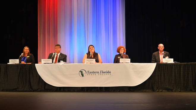 Wednesday night District 1 and 2 school board forum at the Eastern Florida State College Cocoa Campus. Left to right: Misty Belford, David Meader, Shana Moore, Cheryl McDougall and Charles Parker.