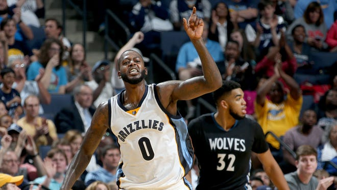 Memphis Grizzlies forward JaMychal Green celebrates one of his 3-point baskets against the Minnesota Timberwolves.