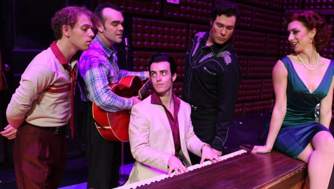 "Riverside Theatre's upcoming show, ""Million Dollar Quartet"" is about a famous jam session with Elvis Presley, Johnny Cash, Jerry Lee Lewis and Carl Perkins. It stars Nat Zegree (from left) as Jerry Lee Lewis; James Barry as Carl Perkins; Sam Cieri (at the piano) as Elvis Presley; Scott Moreau as Johnny Cash; and Sarah Ellis as Dyanne."