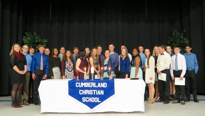 Cumberland Christian School inducted 14 new members into the National Honor Society.