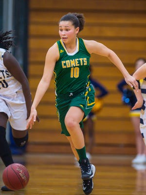 BFA's Hannah Earl brings the ball down the court against Essex in Essex on Tuesday, January 31, 2017.