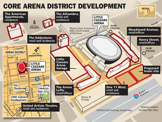 A map of the proposed development at Little Caesars