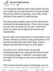 Screenshots of Facebook posts show a post from Bruno's Bath House about an incident where a dog died while at the facility for services.