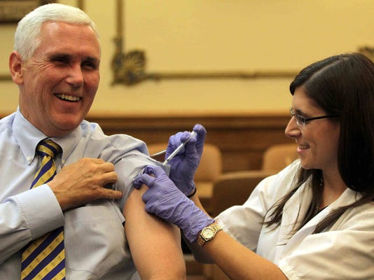 Pence gets flu shot