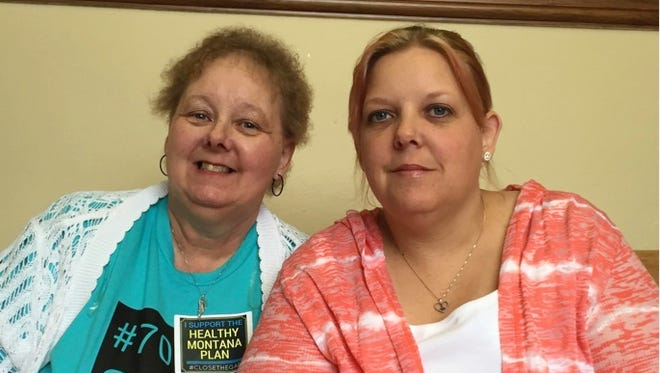Holly Blouch and her mom before testifying in favor of Medicaid expansion in the Montana Legislature last spring.