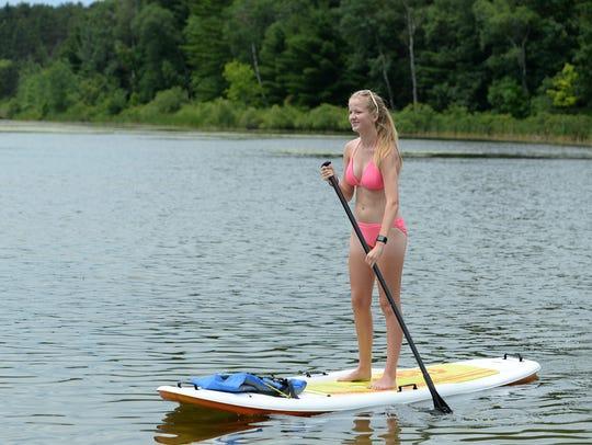 Alyssa Rafuse, Greenville, returns to shore at Hartman