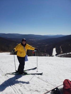 Ski columnist Al Neubert prepares to take a run at Plattekill on the Shredded Mozzarella trail.