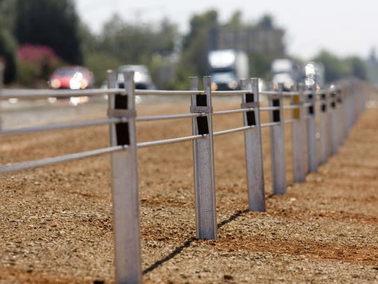 Cable barriers in the median along Interstate 5 between