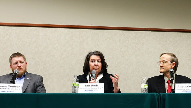 Candidates for City Council's General Seat A (from left) Jesse Coulter, incumbent Jan Fisk and Allen Kemper during the News-Leader's Hometown Election forum held at the Library Center in Springfield, Mo. on March 23, 2017. The forum featured candidates for city-wide races in this April's election.