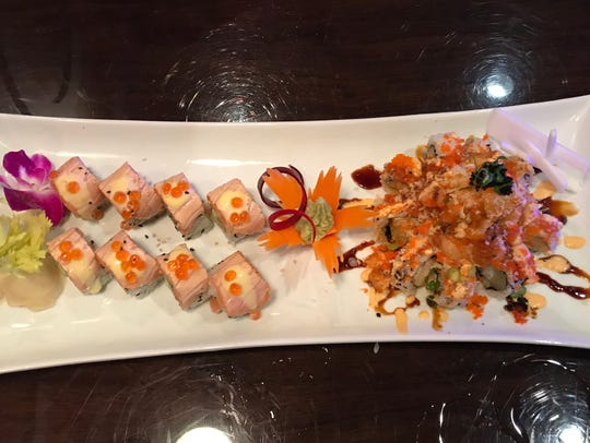 """Salmon in love"" and Hawaiian roll share a plate"
