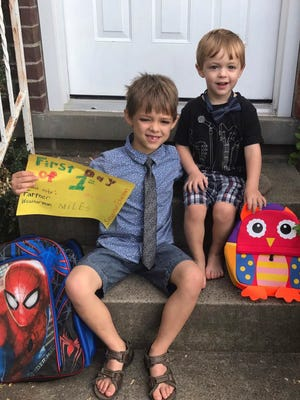 Miles and Owen Doyle on the first day of school.