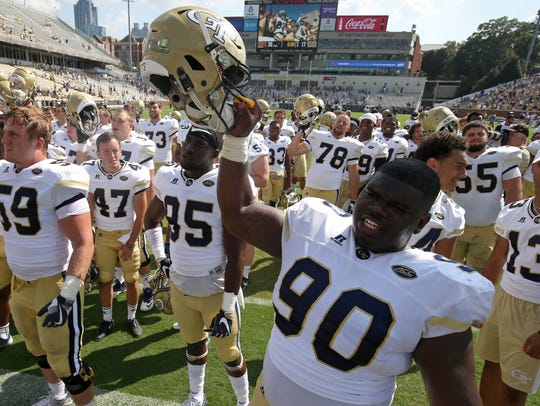 Georgia Tech defensive lineman Brandon Adams (90) died Saturday in Atlanta. Adams was a Brentwood Academy alumnus.
