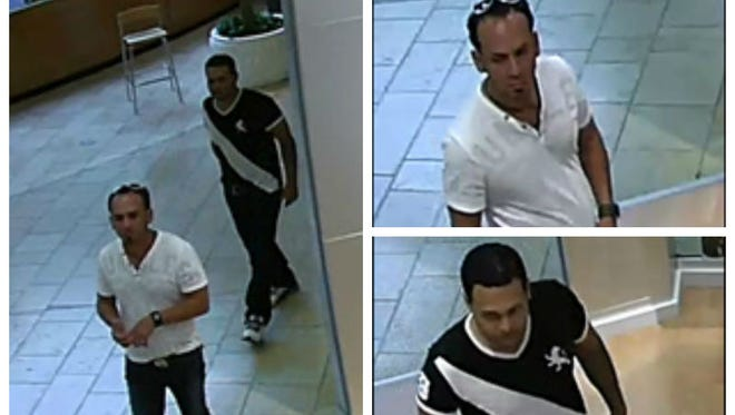 Surveillance images from the Coastland Center Mall show the two suspects in the theft of underwear and sunglasses.