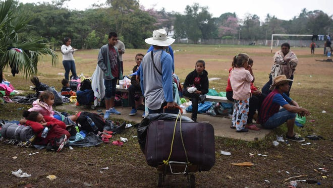 Central American migrants in Matias Romero, Mexico, on April 5, 2018.