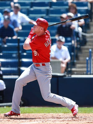 St. Louis Cardinals right fielder Jeremy Hazelbaker hits a 3-run home run during the fifth inning Thursday against the New York Yankees at George M. Steinbrenner Field.