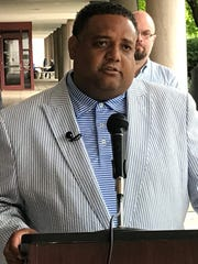 Brandon Brown, the Democratic nominee for South Carolina's Fourth Congressional District, speaks at a news conference Thursday in Greenville.