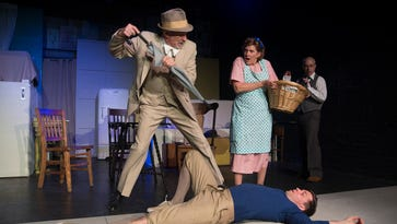 """Steven Samuels as Willy Loman and Jane Hallstrom as Linda Loman in Magnetic Theatre's production of Arthur Miller's """"Death of a Salesman."""""""