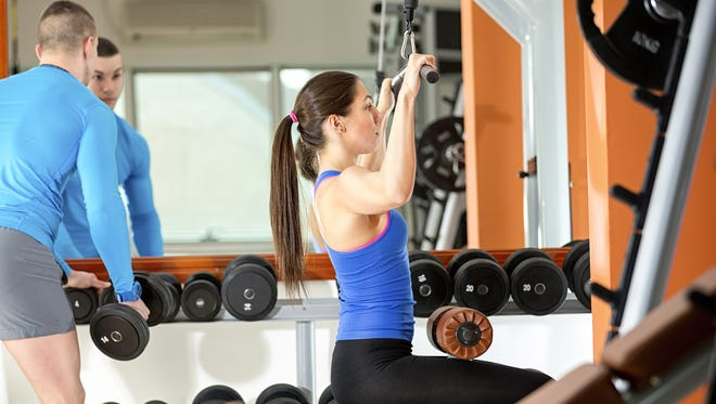 Weight training at gym