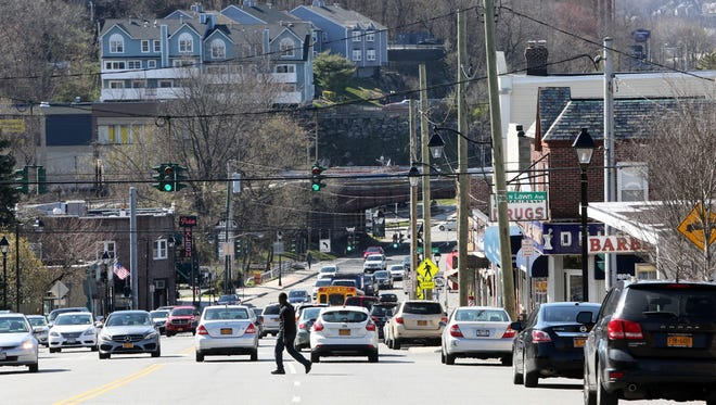 A view looking west on East Main Street in Elmsford. Greenburgh's townwide reassessment dropped Elmsford school district's overall property values by 9.63 percent.