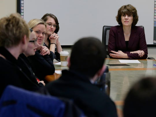 Barbara Rau, dean of the University of Wisconsin-Oshkosh College of Business, meets with the Student Advisory Council on Feb. 12 in Sage Hall. She meets monthly with student leaders to seek their input on college issues.