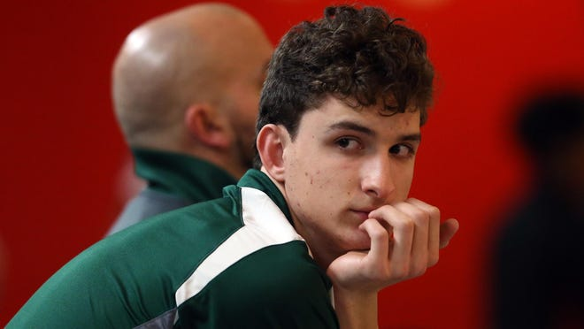 Montville senior Erik Kattermann relaxes after throwing a perfect 300 game in the first round of the Morris County Tournament.