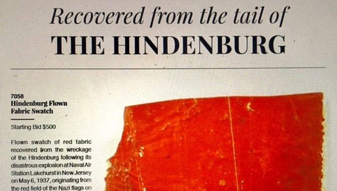 A swatch from one of the Hindenburg's Nazi flags that flew on the German Zeppelin's tail when it burst into flames in Lakehurst, N.J., on May 6, 1937, is up for auction at RR Auction. Bidding started Friday, Oct. 20, 2017, and will continue until Thursday, Oct. 26, 2017.