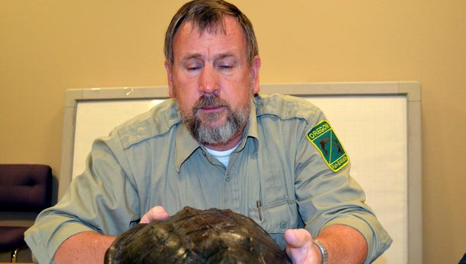 Rick Boatner, the Oregon Department of Fish and Wildlife's invasive species coordinator, holds the shell of a common snapping turtle that was found on a bike path in Tualatin.