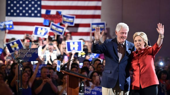 Former President Bill Clinton, left, will campaign Sunday, March 20, in Phoenix and Tucson on behalf of his wife, 2016 Democratic front-runner Hillary Clinton, right.