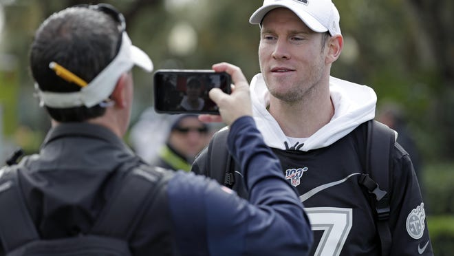 AFC quarterback Ryan Tannehill of the Tennessee Titans answers questions during an interview after a practice for the Pro Bowl game.