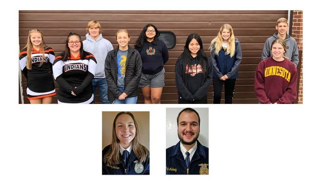 (Top) These FFA officer were interviewed by KNUJ radio during the Virtual National FFA Convention, from left: Miah Brown, Presley Bauer, Brennen Meyer, Carmen Lendt, Leisha Martinez, Katelyn Capacia, Morgan Hoffmann, Maddi Helget, and Adam Johnson. (Below) Courtney Sellner and Nick Ludewig received the American FFA Degree during the 93rd National FFA Virtual Convention.