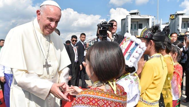 Pope Francis arrives in Yangon, Myanmar, on Nov. 27, 2017.