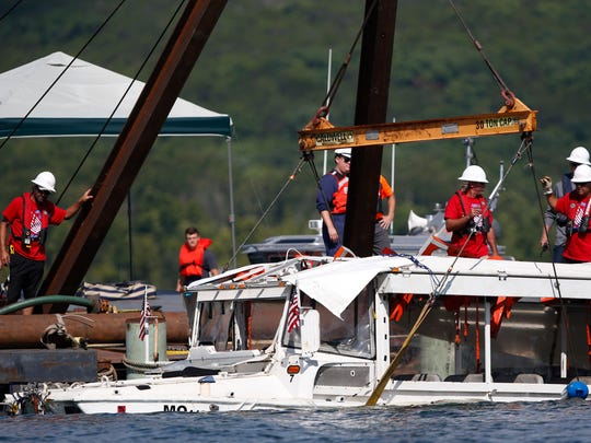 The duck boat that sank in Table Rock Lake in Branson,