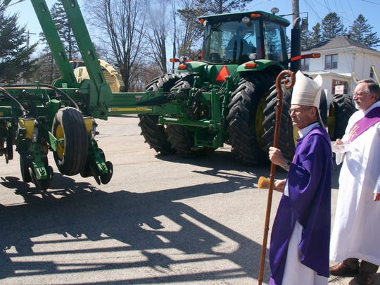 Tractors and other farm machinery were blessed as they