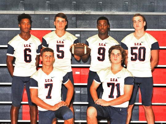 Lafayette Christian Knights' offensive weapons include: wide receiver Errol Rogers, Jr.   (6), wide receiver Noah Joubert (5), wide receiver Treven Kately (9), tackle Wesley Thibodeaux (5),   quarterback Zachary Clement (7) and center Beau Badon (71).