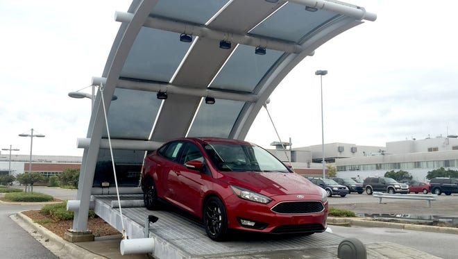 A Ford Focus at the Michigan Assembly Plant in Wayne, Michigan, part of Ford Motor Company on Sept. 28, 2016.