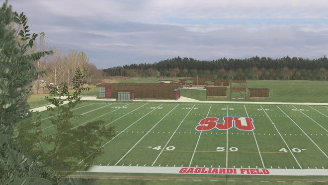 An artist rendering of what the artificial turf athletic field portion of the multi-purpose sports complex at St. John's is expected to look like when completed. The school announced Monday afternoon that the complex will be known as Gagliardi Field.