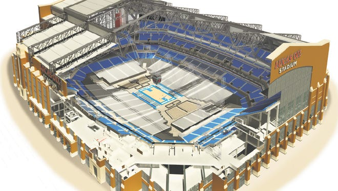 Image of Lucas Oil Stadium as it is configured for the NCAA Men's Final Four