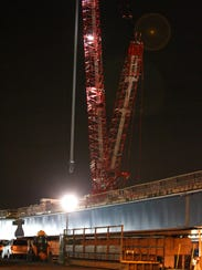 A crane was used during overnight to remove sections