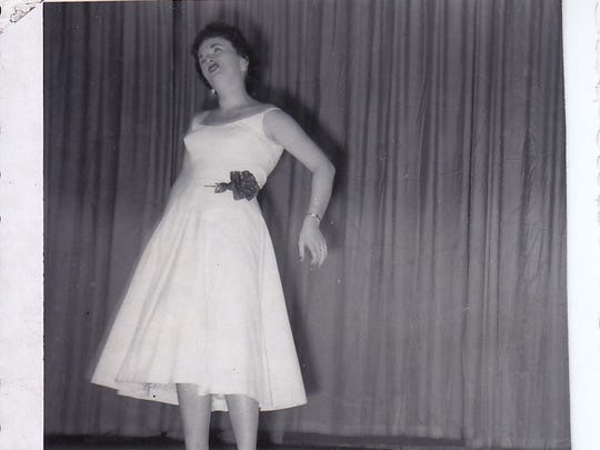 Jewell Sandstrom, of Hockesson, performing with the USO in Greenland in 1956.