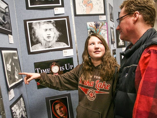 Frenchtown seventh-grader Julia Burchill shows her