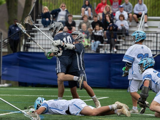 Manasquan's Ryan Anderson celebrates after scoring