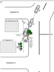 A crash diagram showing how Vasili Pieratos' car allegedly